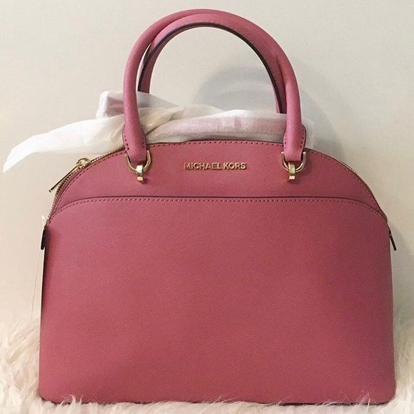 af59f14279e9 Michael Kors Emmy Lg Dome Satchel in Tulip NWT